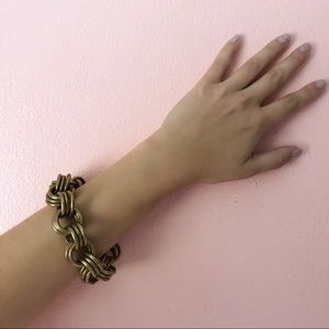 Vintage Brass Triple Loop Chain Bracelet